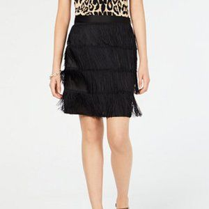 INC Black Tiered-Fringe Skirt